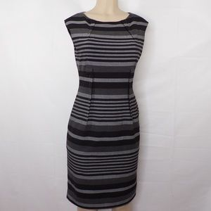 Calvin Kline Gray/Black Striped Career Dress, Sz 6